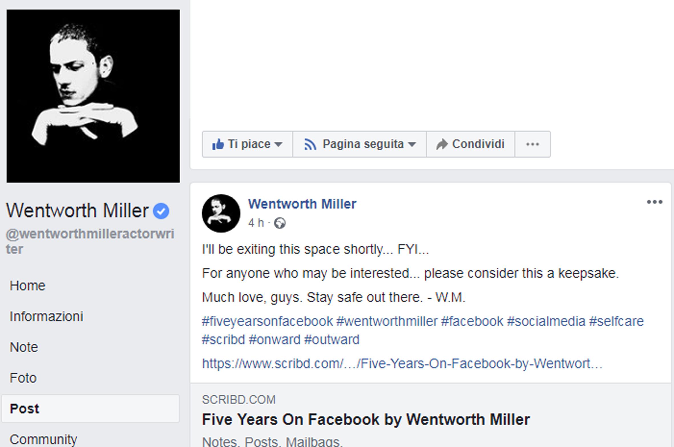questo link non sarà più visibile una volta che Wentworth avrà oscurato  definitivamente la sua pagina facebook. Trovate la fonte in foto qui sotto  d675f7c3081